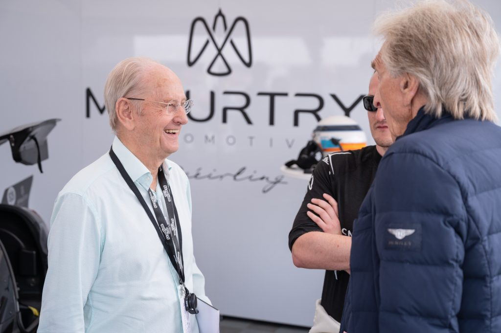 David McMurtry and Derek Bell share a joke at the Goodwood Festival of Speed
